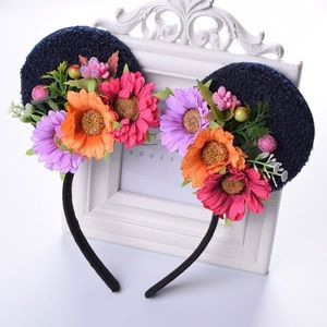 Minnie Mouse Floral Headband w/ Flowers & Crystals